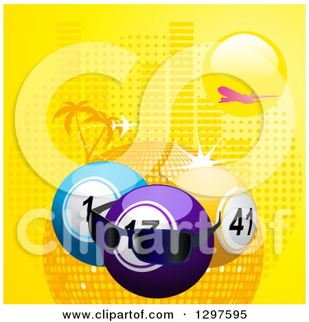 Clipart of a Plane Flying over a Sun, 3d Lottery or Bingo Balls with Sunglasses and a Disco Sphere with Halftone and Palm Trees - Royalty Free Vector Illustration by elaineitalia