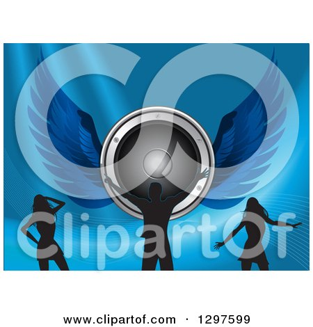 Clipart of a Winged Music Speaker with Silhouetted Male and Female Dancers on Blue with Mesh Waves - Royalty Free Vector Illustration by elaineitalia