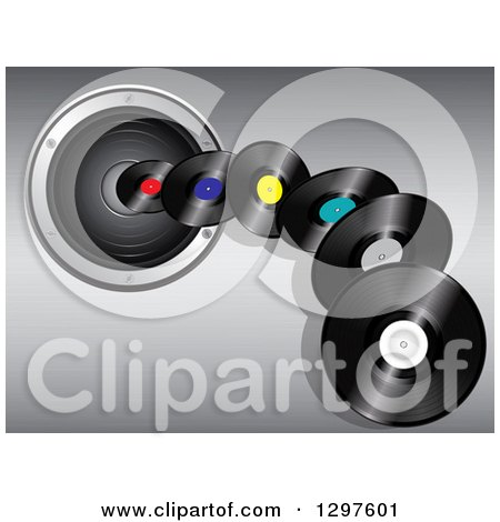Clipart of 3d Vinyl Record Albums Flying over a Music Speaker on Gradient Gray - Royalty Free Vector Illustration by elaineitalia