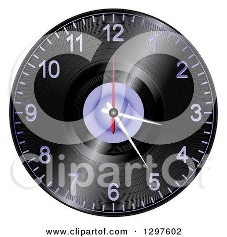 Clipart of a 3d Vinyl Record Albul Wall Clock - Royalty Free Vector Illustration by elaineitalia