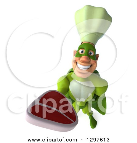 Clipart of a 3d Caucasian Male Super Chef in a Green Suit, Holding up a Beef Steak - Royalty Free Illustration by Julos