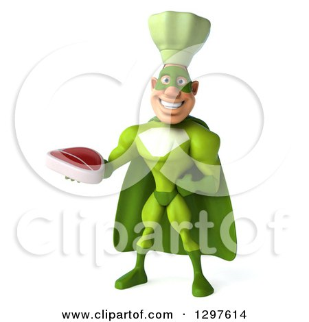 Clipart of a 3d Caucasian Male Super Chef in a Green Suit, Holding a Beef Steak - Royalty Free Illustration by Julos