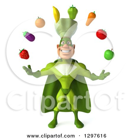 Clipart of a 3d Caucasian Male Super Chef in a Green Suit, Juggling Produce - Royalty Free Illustration by Julos