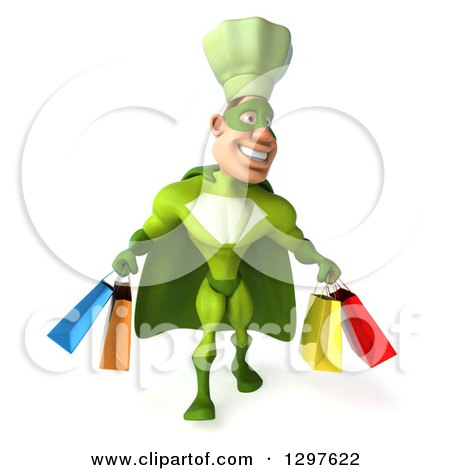 Clipart of a 3d Caucasian Male Super Chef in a Green Suit, Walking with Shopping Bags - Royalty Free Illustration by Julos