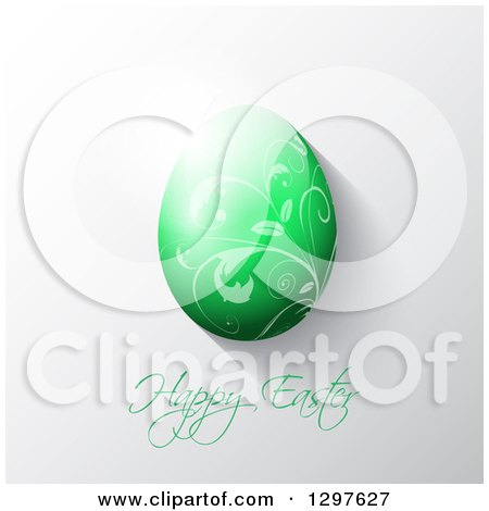 Clipart of a 3d Green Vine Patterned Easter Egg over Text on Gray - Royalty Free Vector Illustration by KJ Pargeter