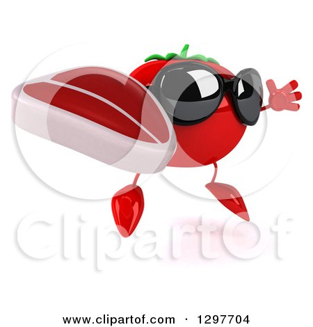 Clipart of a 3d Tomato Character Wearing Sunglasses, Facing Right, Jumping and Holding a Beef Steak - Royalty Free Illustration by Julos