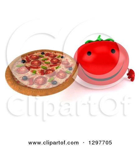 Clipart of a 3d Tomato Character Wearing Sunglasses and Holding up a Pizza - Royalty Free Illustration by Julos