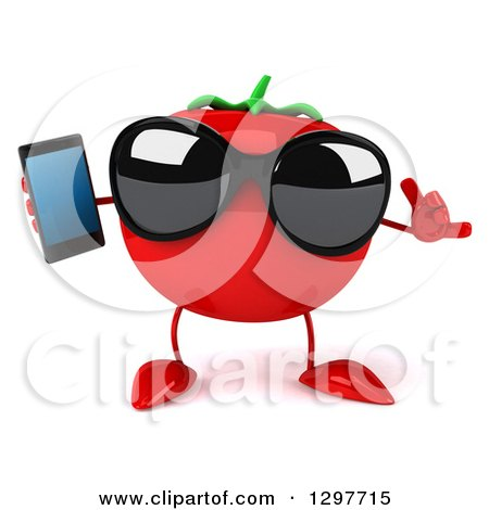 Clipart of a 3d Tomato Character Wearing Sunglasses, Gesturing Call Me and Holding a Smart Cell Phone - Royalty Free Illustration by Julos