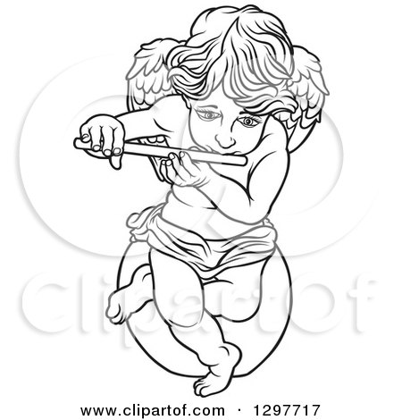 Clipart of a Black and White Angel Sitting on a Rock and Playing a Flute - Royalty Free Vector Illustration by dero
