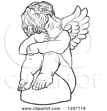 Clipart of a Black and White Sad Angel Sitting on a Rock - Royalty Free Vector Illustration by dero