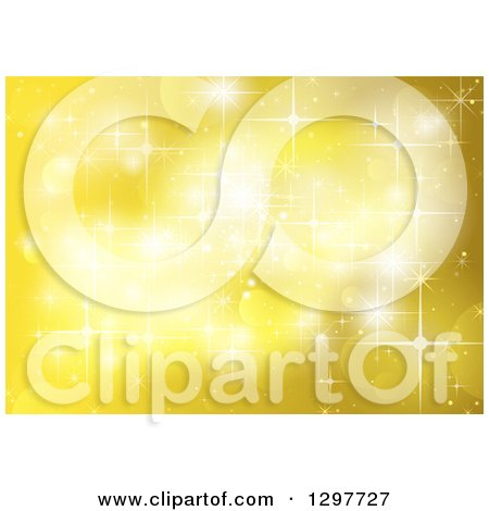 Clipart of a Yellow Background of Sparkles, Lights and Flares - Royalty Free Vector Illustration by dero