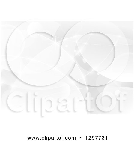 Clipart of a Grayscale Background of Lights and Flares - Royalty Free Vector Illustration by dero