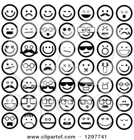 Clipart of Round Black and White Smiley Faces - Royalty Free Vector Illustration by Prawny