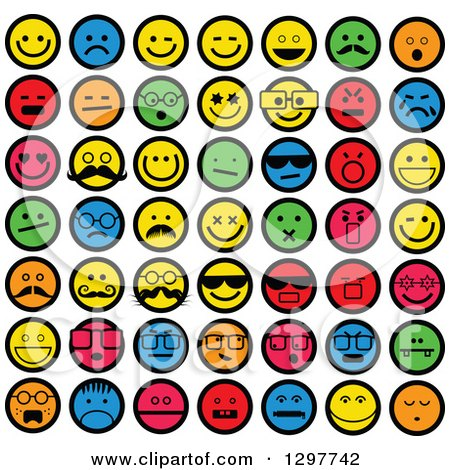 Clipart of Colorful Round Emoticon Smiley Faces - Royalty Free Vector Illustration by Prawny