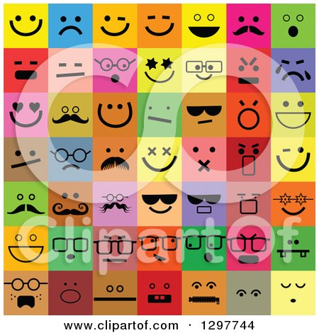 Clipart of Colorful Square Smiley Face Icons - Royalty Free Vector Illustration by Prawny