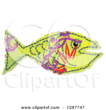 Clipart of a Green Fabric Fish with Purple and Red Markings on White - Royalty Free Illustration by Prawny