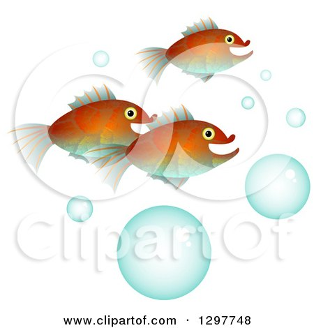 Clipart of Fish with Bubbles on White - Royalty Free Illustration by Prawny