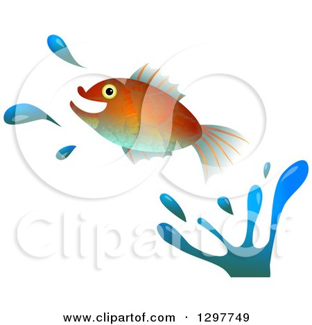 Clipart of a Leaping Fish with Water Splashes on White - Royalty Free Illustration by Prawny