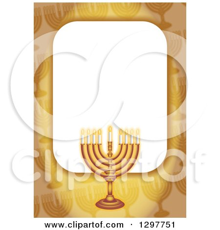 Clipart of a Golden Border with a Hanukkah Menorah - Royalty Free Illustration by Prawny