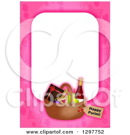 Clipart of a Pink Border with a Purim Basket - Royalty Free Illustration by Prawny