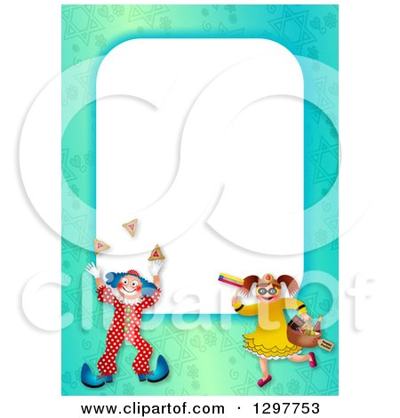 Clipart of a Border of a Boy in a Purim Clown Costume and Girl with Mishloach Manot - Royalty Free Illustration by Prawny