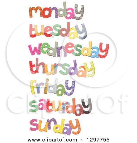Clipart of a Cartoon Stitched Monday Day of the Week over Blue ...