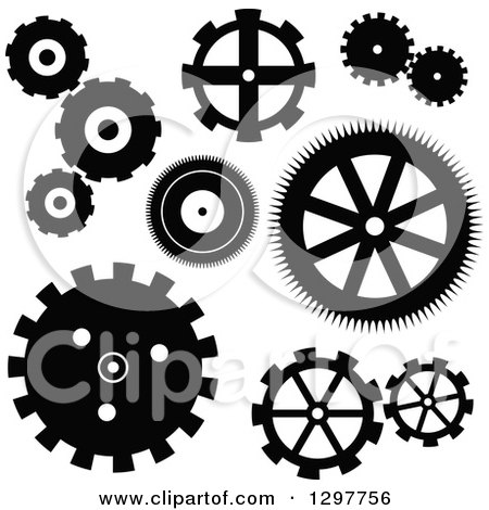 Clipart of a Black and White Gear Cog Icons - Royalty Free Vector Illustration by Prawny