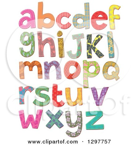 Clipart of Stitched Patterned Alphabet Letters - Royalty Free Vector Illustration by Prawny
