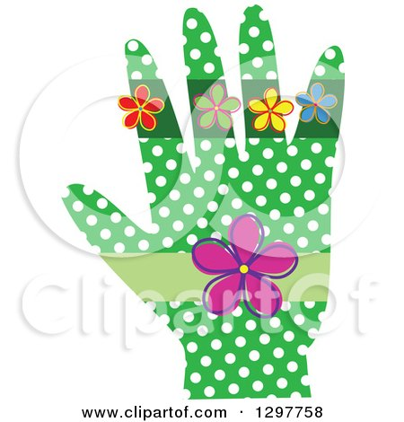 Clipart of a Green Hand with White Polka Dots and Flowers - Royalty Free Vector Illustration by Prawny