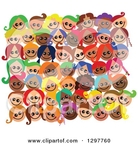 Clipart of a Crowd of Diverse Happy Faces of Children - Royalty Free Vector Illustration by Prawny