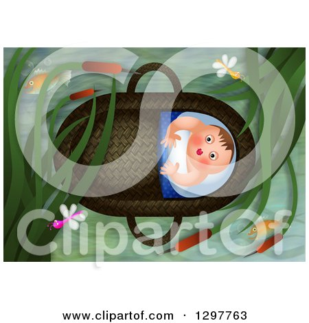 Clipart of Baby Moses Floating in a Basket - Royalty Free Illustration by Prawny