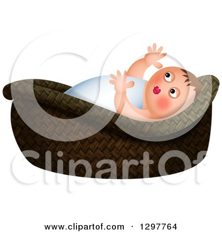 Clipart of Baby Moses in a Basket, over White - Royalty Free Illustration by Prawny