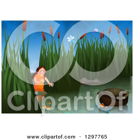 Clipart of Miriam Watching over Baby Moses Floating in a Basket - Royalty Free Illustration by Prawny