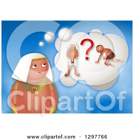 Clipart of a Confused Moses Thinking of Slave or Egyptian Prince - Royalty Free Illustration by Prawny