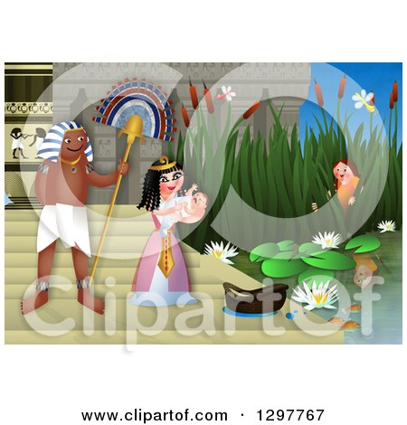 Clipart of Miriam Watching Baby Moses Discovered by the Egyptian Princess - Royalty Free Illustration by Prawny
