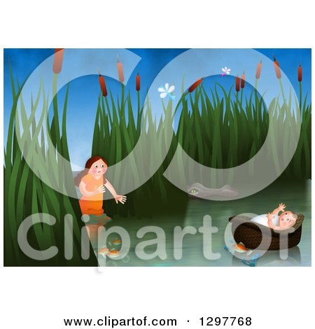 Clipart of Miriam Watching over Baby Moses Floating in a Basket on the Nile River - Royalty Free Illustration by Prawny
