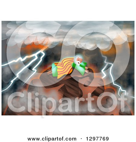 Clipart of Moses Receiving the Law on Mount Sinai - Royalty Free Illustration by Prawny