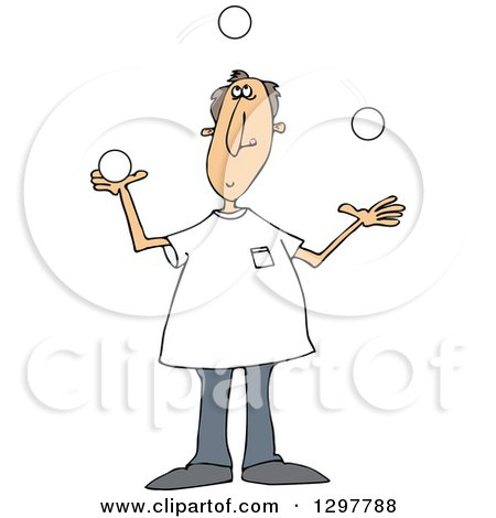 Clipart of a Caucasian Man Juggling White Balls - Royalty Free Vector Illustration by djart