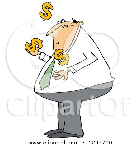 Clipart of a Chubby White Business Man Juggling Usd Dollar Currency Symbols - Royalty Free Vector Illustration by djart