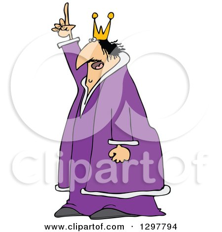 Clipart of a Chubby Scraggly King in a Purple Robe, Holding up a Finger and Talking - Royalty Free Vector Illustration by djart