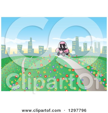 Clipart of a Silhouetted Couple Driving a Pink Car on a Hilly Road, with Colorful Flowers, to a City in the Distance - Royalty Free Vector Illustration by Holger Bogen