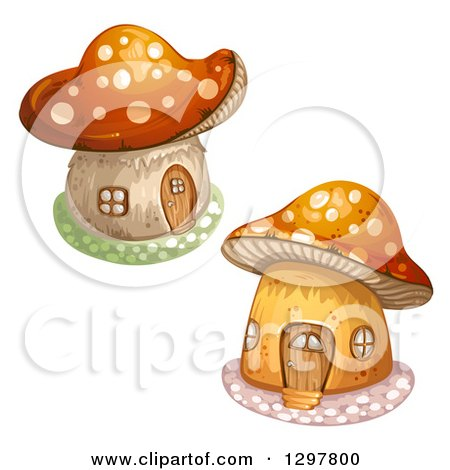 Clipart of Mushroom Houses - Royalty Free Vector Illustration by merlinul