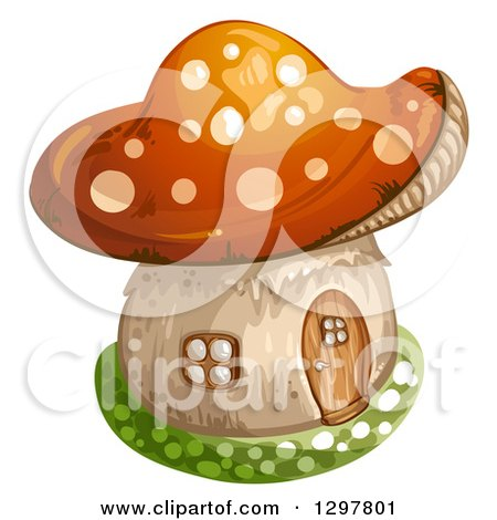 Clipart of a Mushroom House - Royalty Free Vector Illustration by merlinul