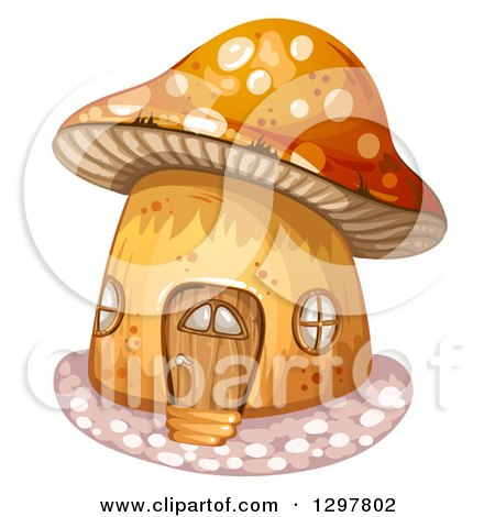 Clipart of a Mushroom House with a Wood Door - Royalty Free Vector Illustration by merlinul