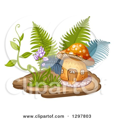 Clipart of a Mushroom House with Ferns, a Vine and Flowers - Royalty Free Vector Illustration by merlinul