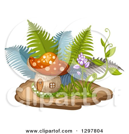 Clipart of a Mushroom House with Ferns and a Flowering Vine - Royalty Free Vector Illustration by merlinul