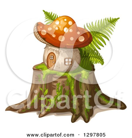 Clipart of a Mushroom House on a Tree Stump - Royalty Free Vector Illustration by merlinul