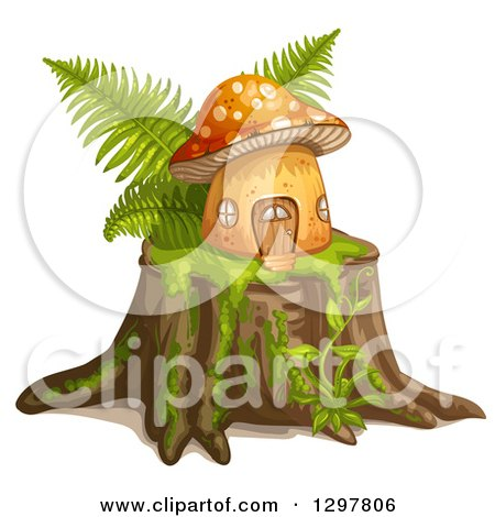Clipart of a Mushroom House with Ferns on a Tree Stump - Royalty Free Vector Illustration by merlinul