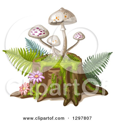 Clipart of White Spotted Mushrooms on a Tree Stump, with Flowers and Ferns - Royalty Free Vector Illustration by merlinul