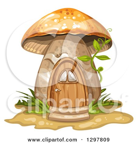Clipart of a Mushroom House with Ferns, Grass and a Vine - Royalty Free Vector Illustration by merlinul